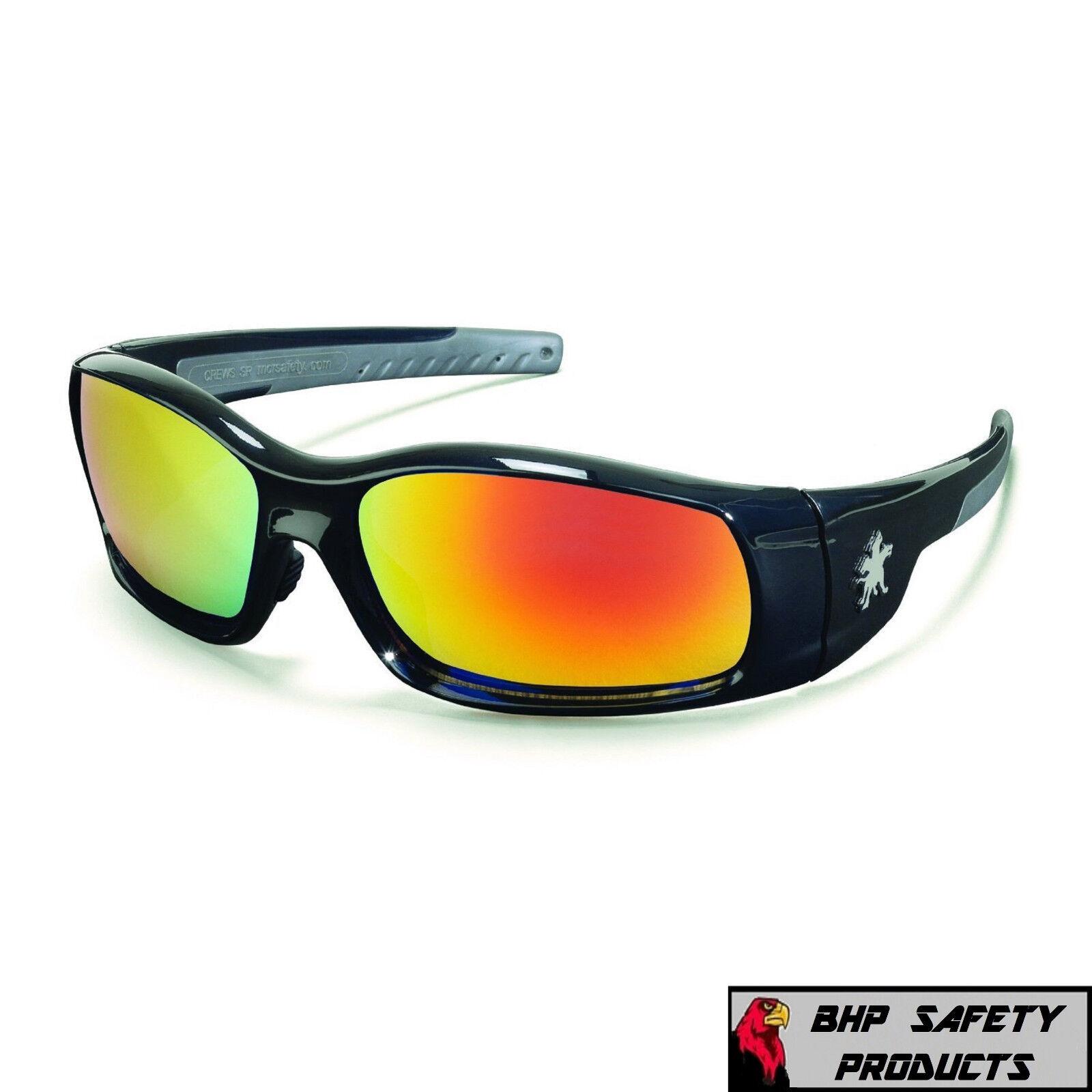 MCR CREWS SWAGGER SAFETY GLASSES SUNGLASSES WORK SPORT EYEWEAR CHOOSE YOUR COLOR SR11R FIRE MIRROR/BLACK FRAME