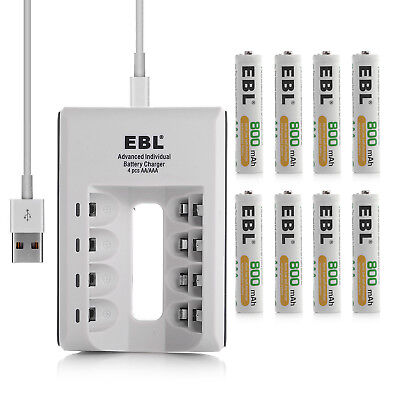 EBL 4-Slot USB AA AAA NI-MH NI-CD Battery Charger + 8 AAA Rechargeable Batteries