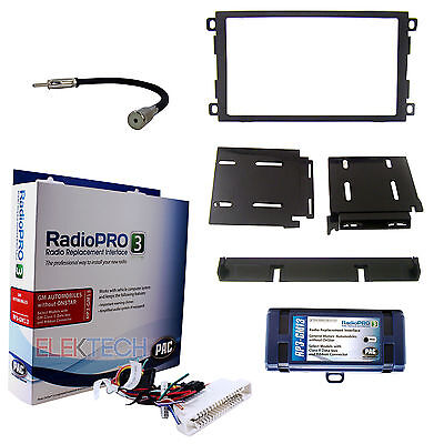 Radio Replacement Interface & Dash Kit 2-DIN w/Antenna for NO-Onstar Class-2 BUS ()