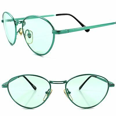 Classic True Vintage 80s 90s Hip Urban Fashion Mens Womens Oval Green Sunglasses