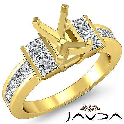 Emerald Semi Mount Ring - Princess Side Diamond Engagement Ring 18k Yellow Gold 1Ct Emerald Cut Semi Mount