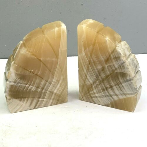 Vintage Marble Bookends Beige Tan Curved Arc Fan Shaped Heavy Pair Set of 2 Book
