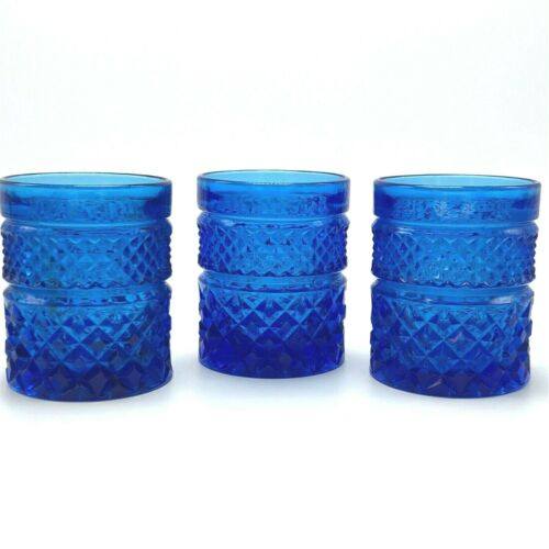 3x Vintage Anchor Hocking Wexford Diamond Blue 10 oz Drink Glasses Water Tumbler