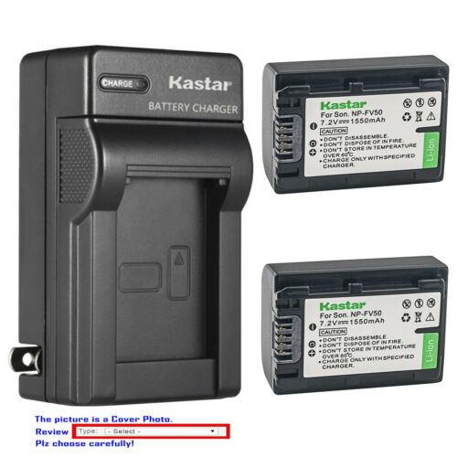 Kastar Battery Wall Charger for Sony NP-FV50 NP-FV30 & Sony FDR-AX43 Handycam