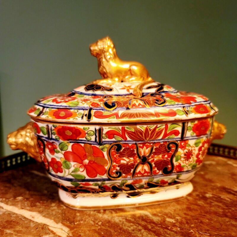 "English Regency Coalport Imari ""Dragon Pattern"" Covered Sauce Tureen"