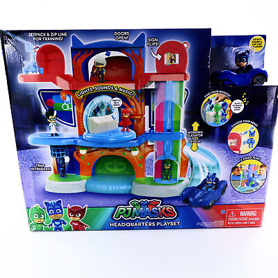 PJ Masks Deluxe Headquarters Playset with Catboy's Cat Car Vehicle Lights - Female Superheroes With Masks
