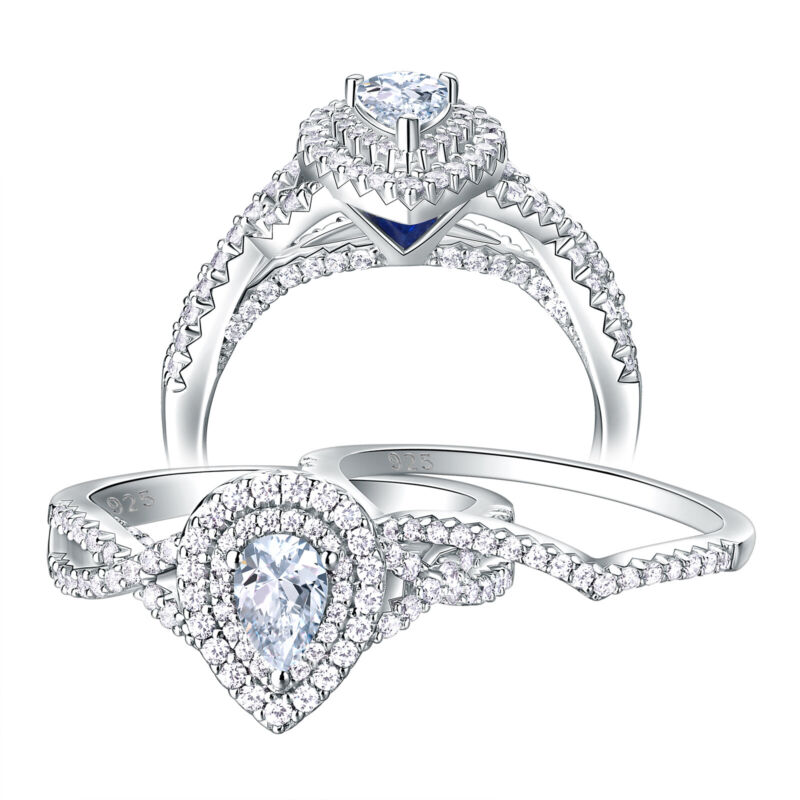 Wedding Rings For Women Engagement Ring Set 1.3ct Pear Sterling Silver Aaaa Cz