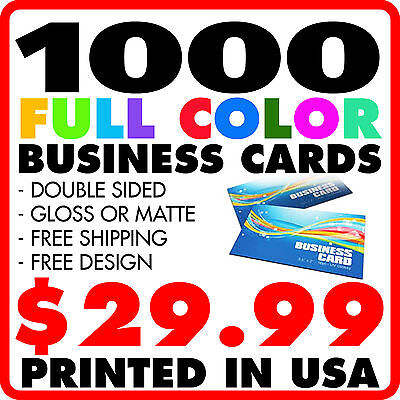1000 CUSTOM FULL COLOR BUSINESS CARDS + FREE DESIGN FREE SHIPPING