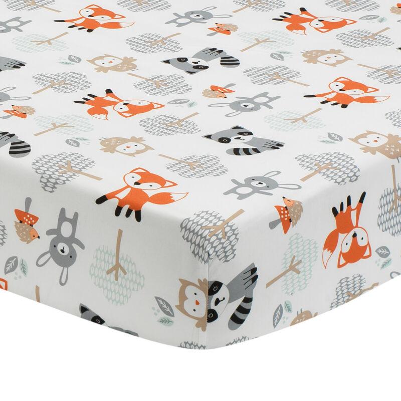 Bedtime Originals Woodland Friends Fox/Owl/Raccoon Fitted Crib Sheet - White