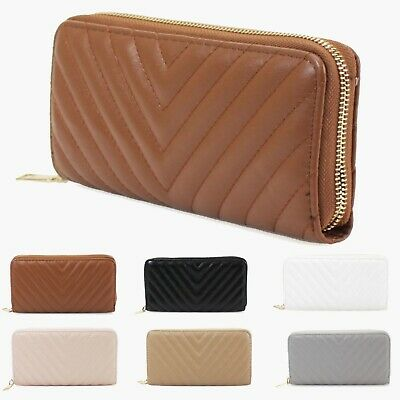 Ladies Women's Quilted Design All Over Party Fashion Wallet Purse UK