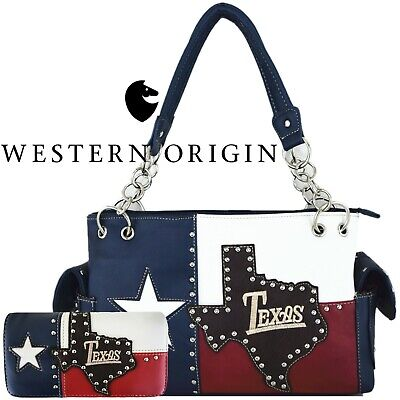 The Lone Star Flag of Texas Studded Concealed Carry Purse Women Handbag -
