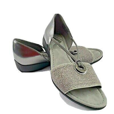 Anne Klein Sport Sandal Sz 6 M Sparkle Silver Gray With Rubber Sole