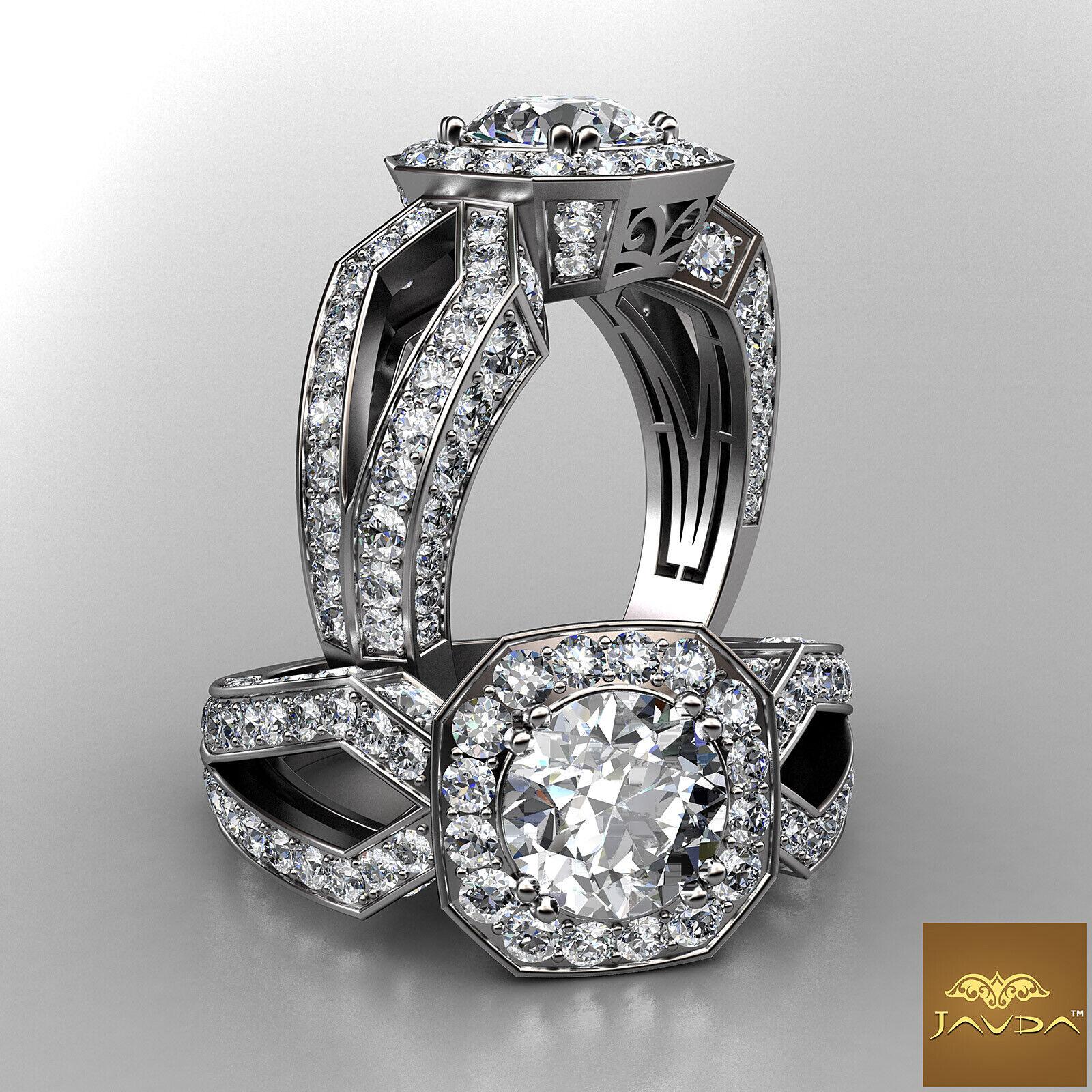 Halo Double Prong Split Shank Round Cut Diamond Engagement Ring GIA I VS2 2.95Ct