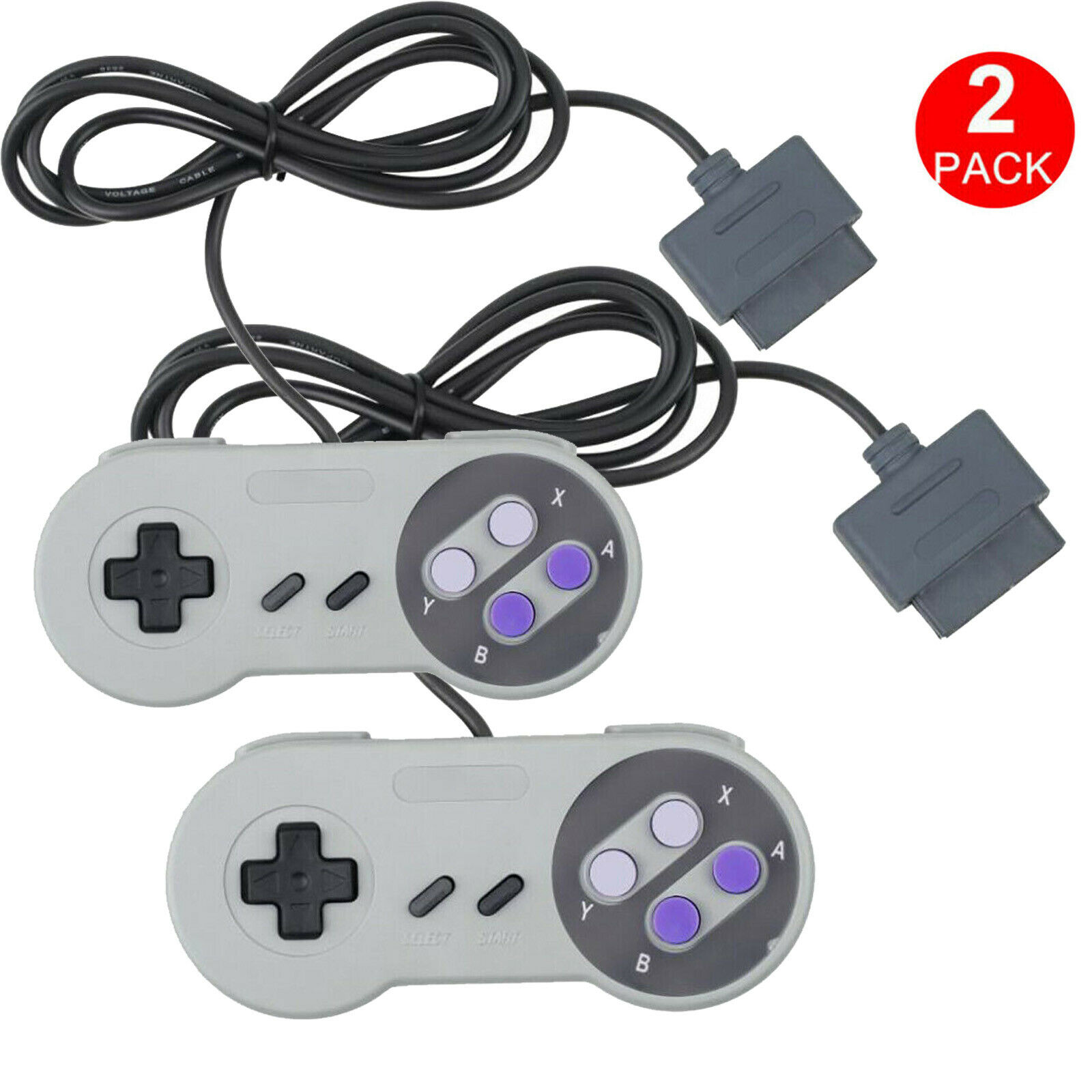 2 FOR New Super Nintendo SNES System Console Replacement Controller 6FT SNS-005 Controllers & Attachments