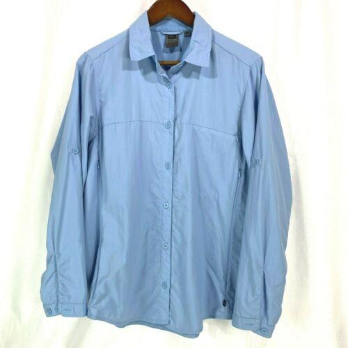 REI Womens XL Blue Long Sleeve Button Shirt UPF 30+ Vented