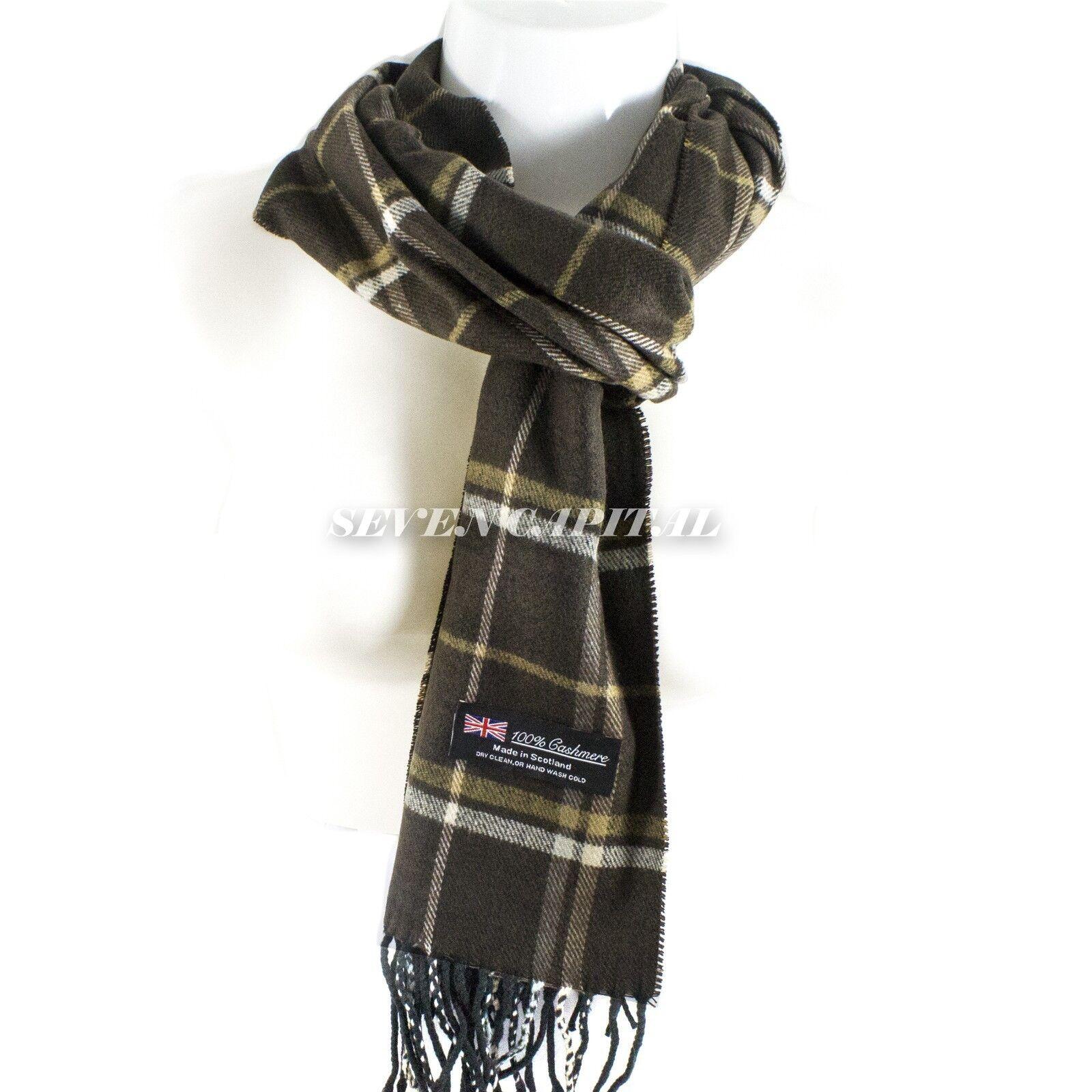 Mens Womens Winter Warm SCOTLAND Made 100% CASHMERE Scarf Scarves Plaid Wool 9. Plaid: Dark Brown/Yellow