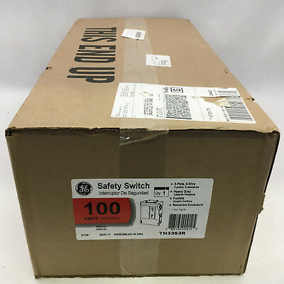 GE TH3363R New In Box 3P 3W HD 100A 600V Fused Nema 3R Disconnect C1