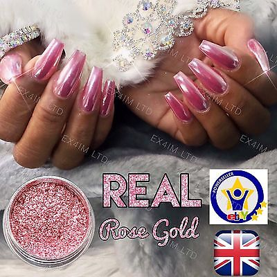 ROSE GOLD 100% REAL Mirror Powder Rose Gold Chrome Effect Pigment Uk Seller (w) - Rose Gold Mirror