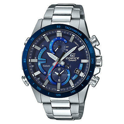 Mens Link Steel Watch - Casio EDIFICE EQB900DB-2A Smartphone Link Solar Power Stainless Steel Mens Watch