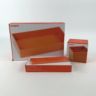 Poppin Desk Accessory Set 3 Pieces Pen Cup Accessory Tray Bits Bobs Orange