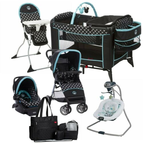 Disney Baby Stroller with Car Seat Travel System Diaper Bag Playard Swing Combo
