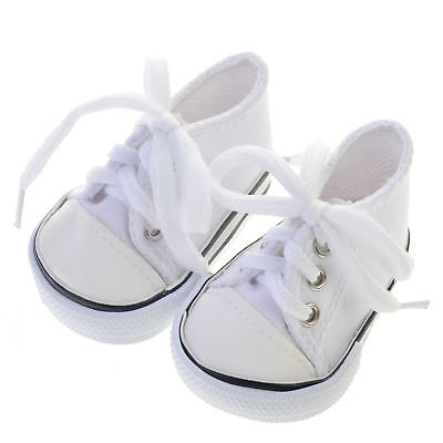 American Girl Doll Sneakers Shoes Tennis Canvas White 18 Inch New By Sophia's