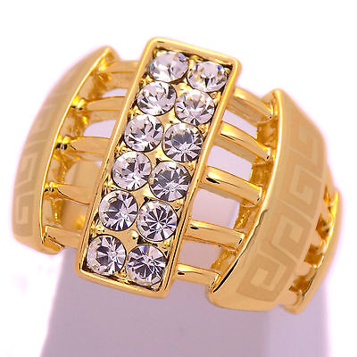 Gorgeous Stylish Unisex Gold Plate Greek Key Ring Size 7.25 US & White -