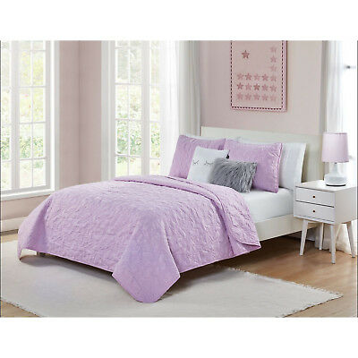 New Teen Girls Purple Stars Design Quilt Coverlet Full Twin Set Faux Fur Pillow