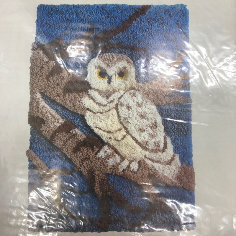 "Vintage Owl On A Branch Latch Hook Rug Canvas Pattern Columbia-Minerva 24"" X 34"""