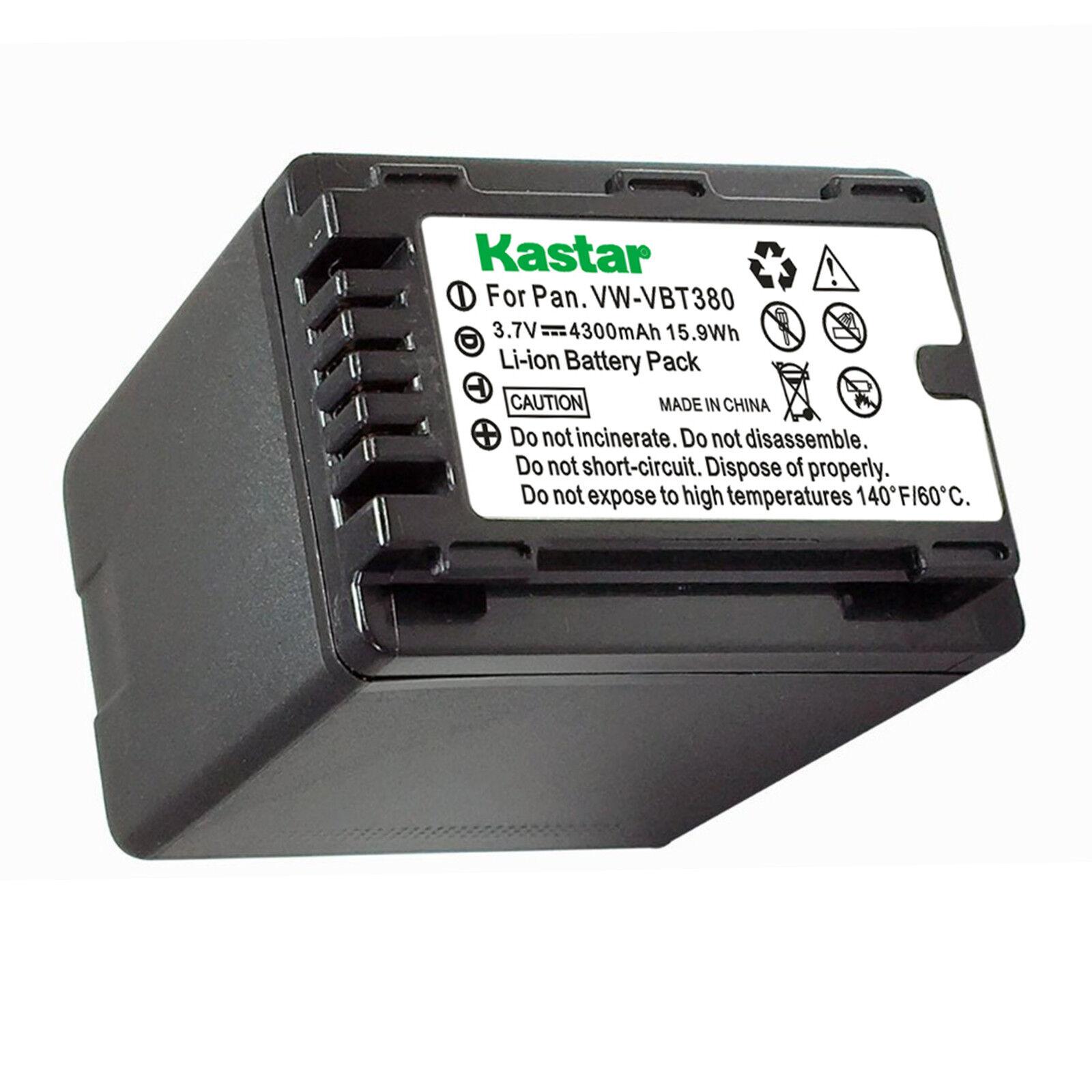 1X Kastar Battery For Panasonic VW-VBT380 HC-V770 V770K HC-VX870 VX870K HC-VX981