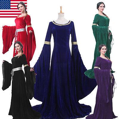 USA SHIP Celtic Queen Gown Red Costume Women Velvet Medieval Renaissance