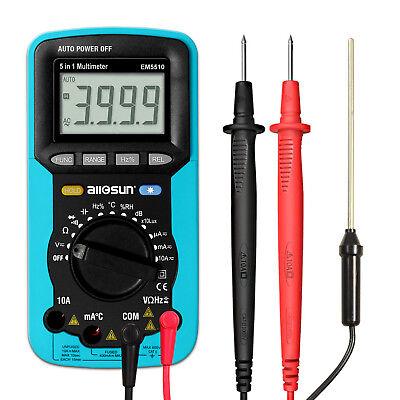 5 In 1 Dmm Handheld Digital Multimeter Autorange Dc Ac V A R C F Temp Tester