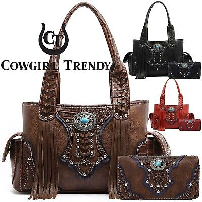 Western Cowgirl Concealed Carry Purse Fringe Handbags Women Shoulder Bag Wallet