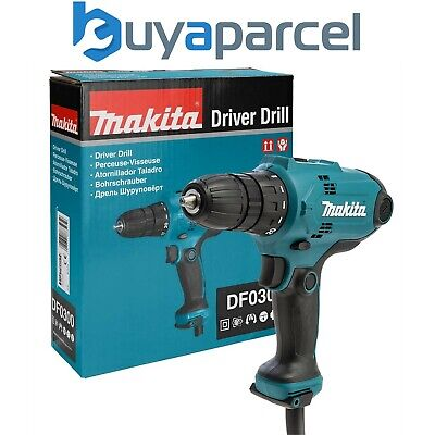 Makita DF0300 240v Cuerda Taladro Atornillador 10mm Chuck 2 Velocidad 2.5m Cable