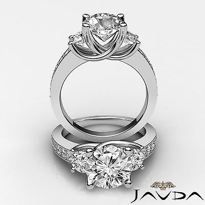 3 Stone Round Cut Diamond Ideal Engagement Ring GIA F VS2 14k White Gold 1.8 ct