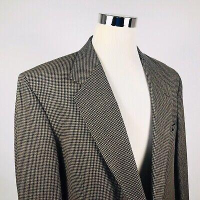 Nordstrom Mens 48XL Sport Coat Silk Wool Blend Blue Gold Houndstooth Two Button  Blend Mens Sport Coat