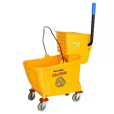 Alpine Industries Yellow 9 Gallon Side Press Commercial Combo Mop Bucket Commercial Mop Bucket