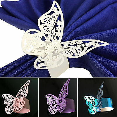 50PCS Hollow Butterfly Ring Paper  Napkin Holder Table Wedding Party Supplies](Butterfly Party)