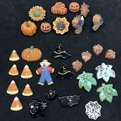 Halloween Fall Thanksgiving Buttons Pumpkins Witch Acorns Bats Ceramic & Plastic
