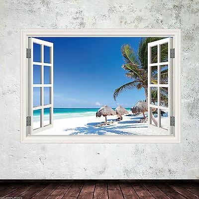 Tropical Window Frame Full Colour wall art sticker decal transfer mural WSD613