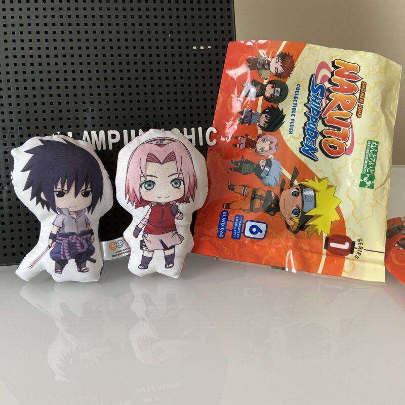 Naruto Shippuden Blind Bag Plush Key Chain Clip - Sasuke + Sakura (Set Of Both)
