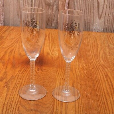 2 Glass Precious Moments Monogrammed Wedding Goblets - Wedding Goblets