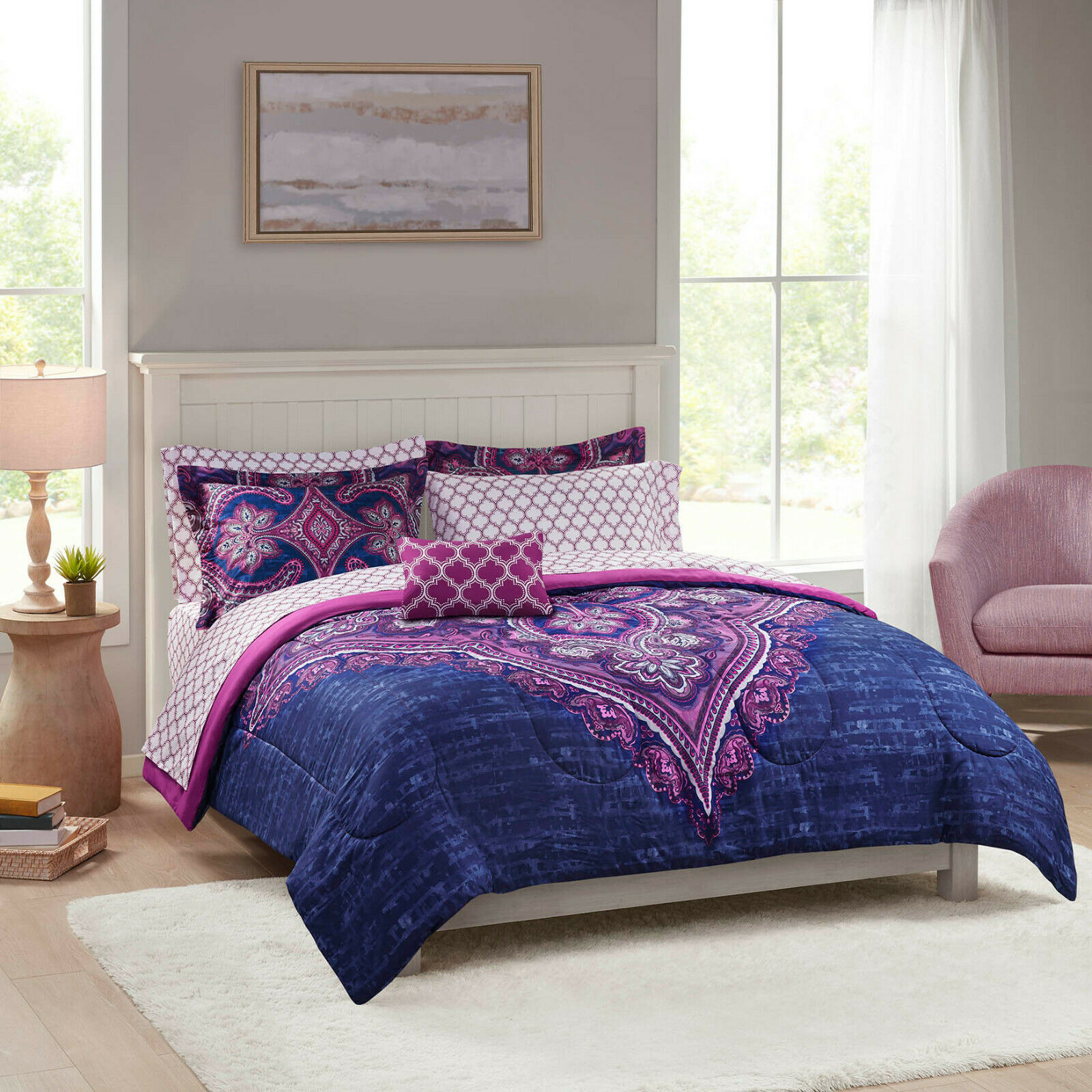 Grace Medallion Purple Bed in a Bag Complete Bedding - Queen