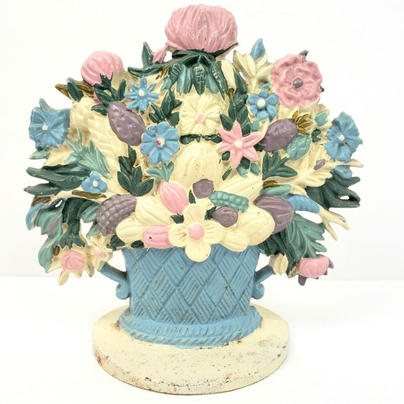 Vintage Cast Iron Door Stop Flowers Floral Bouquet Basket Doorstop
