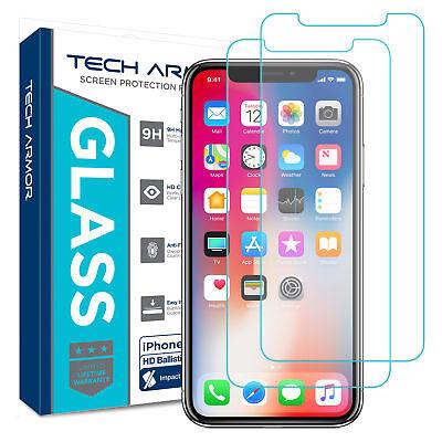 Tech Armor Apple iPhone X (iPhone 10), Ballistic Glass Screen Protector [2-Pack]