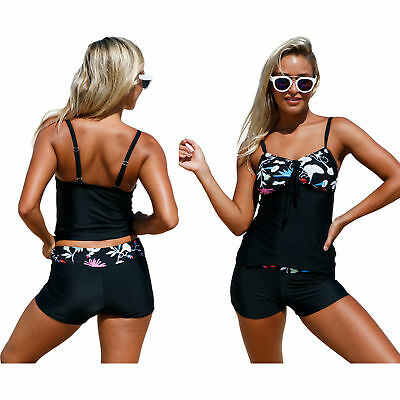 Floral detail bandeau tankini & shorts 2 stück badeanzug (Floral Bandeau Badeanzug)