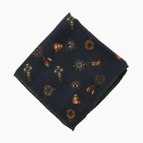 RODA Navy Blue Wool Pocket Square with Medal Print NWT