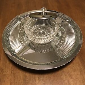 Chrome / Glass Lazy Susan Vintage (~1959) Serving Set - New
