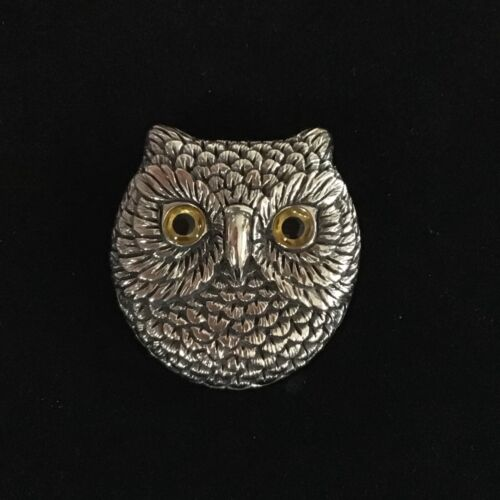 """Quality Sterling Silver Victorian Antique style large Owl Face brooch pin 1.5"""""""