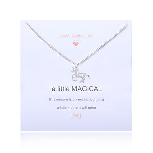 Joma Jewellery Girls a little Magical CHILDRENS silver unicorn necklace in bag